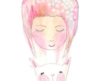 White cat and girl print kids art nursery artwork illustration