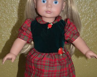 """18"""" Girl Doll Clothes - Red and Green Plaid Christmas Dress with Red Roses - Fits American Girl - Gotz - Madame Alexander -  - Handmade"""