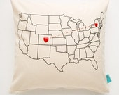 DIY Pillow Kit - Heart Strings - USA Map Pillow - Mother's Day Gift
