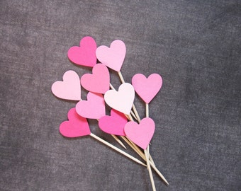 24 Mixed Pink Heart Cupcake Toppers, Valentine's Day, Party Decor, Weddings, Showers, Birthdays, Love