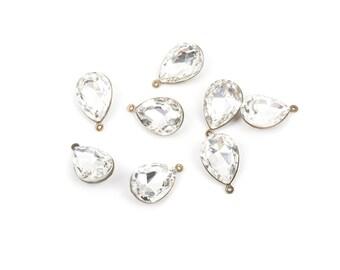 "2 Rhinestone Teardrop Drop Charm Pendants, bronze bezel setting, faceted crystal glass, 3/4"" long, chb0317"