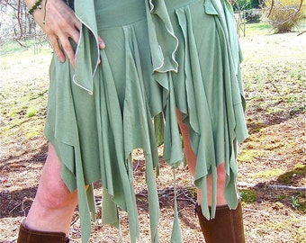 Ragamuffin Fairy Skirt, Also Top, Scarf, Danceskirt, Burning Man, Festival, Pagan, Tribal Costume, Elven, Woodland Nymph, Boho