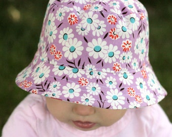 girl's bucket hat, secret garden, reversible, 5 sizes