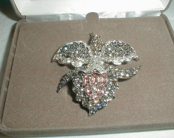 nolan miller crystal orchid brooch flower pin cz nolan miller grey silver peach clear czs statement floral brooch