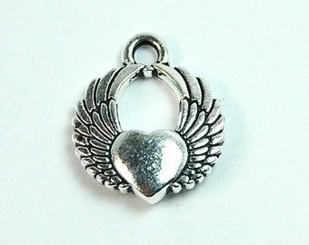 TierraCast Antique Silver Winged Heart Charm -1