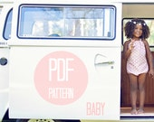 Baby Romper PATTERN Halter Bow Romper Sun Suit in Baby Girl 6 months 12 months 18 months Easy Sewing Pattern