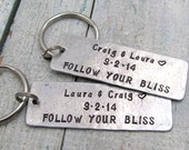 Personalized Couples Keychain - Wedding Keychain Set - Hand Stamped Keychain -- Personalized Anniversary Gift - His and Hers Keychains
