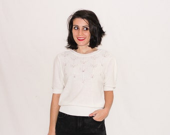 Vintage White Knitted and Pearl Sweater Tee