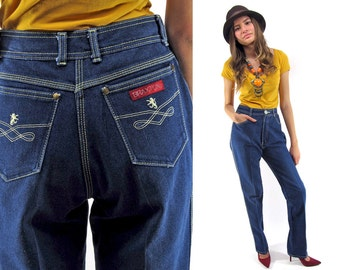 80s High-Waist Jeans / Vintage Denim Jeans / Straight-Leg Jeans Δ size: M