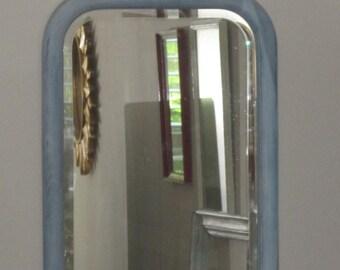 Vintage Oak Framed Mirror - Vintage Beveled Wall Mirror Distressed in Blue