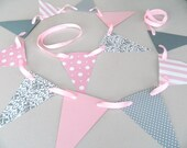 Baby girl shower decor / Pink and Gray baby shower Garland / Girls Room Decor / Bridal Shower Decoration
