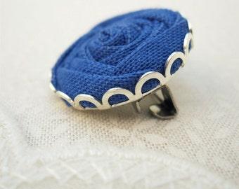 Something Blue Jay Brooch - Fabric Flower Pin in Deep Blue