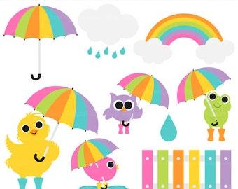 spring clip art clipart rain rainy day umbrella - Rainy Day Friends Digital Clip Art