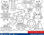 Baby Sailor Stamps - Digital stamps - Clip art