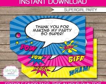 Girl Superhero Favor Tags - Thank You Tags - Birthday Party Favors - Supergirl - INSTANT DOWNLOAD with EDITABLE text - you personalize
