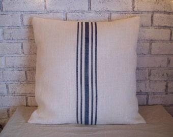 Beach Blue Striped Pillow Cover - Multi-Stripe Burlap Pillow - Grain Sack Pillow - Decorative Pillow - Feedsack Pillow - Summer Decor Pillow