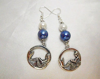 Silver Dangle Earrings,  Nautical Mermaids With Blue And White Pearls Womens Gift Handmade