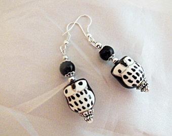 Silver Dangle Earrings,   Cute Porcelain Owl Earrings Black and White  Womens Gift  Handmade