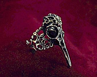 Silver Ring,  Gothic Raven Skull Ring Adjustable, Mens Womens Gift  Handmade