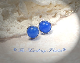 Indigo Jade Stud Earrings, Third Eye Chakra Reiki Earrings, Blue Jade Gemstone Stud Earrings