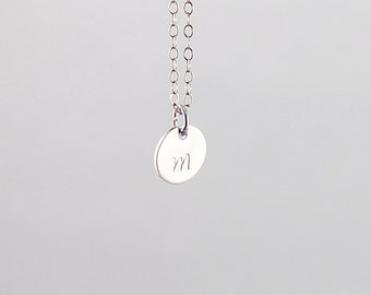 Engraved initial necklace silver personalized necklace sterling silver initial charm necklace tiny initial necklace small initial charm