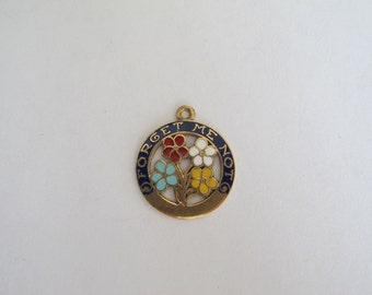 RESERVED: SOLD to G.....Vintage 14k Yellow Gold Enameled Forget Me Not Charm Pendant