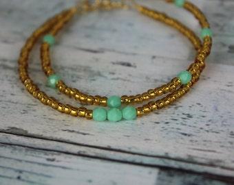 Gold/Mint Beaded Bracelets
