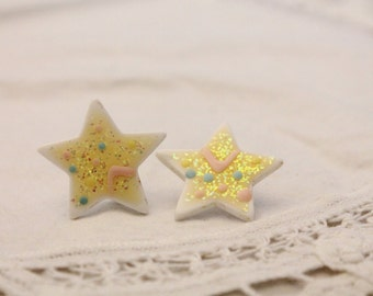 Funkly Splattered Glitter Star Earrings - Pierced