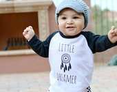 READY TO SHIP - Little Dreamer - Kids Black Raglan Shirt - Black 3/4 Sleeve Baby Shirt - Hipster Baby Shirt - Hipster Toddler Shirt-Apparel