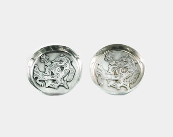 Vintage William Spratling Sterling Silver Pin Dishes with Quetzalcoatl Plumed Serpent Motif