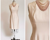 1950s Vintage Dress Ivory Silk Cocktail Party Vintage 50s Dress Sleeveless with Shelf Bust Size Small