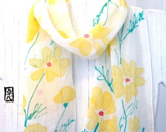 Silk Scarf Handpainted, Gift for her, Yellow Painted Daisies Scarf, Silk Chiffon, Silk Scarves Takuyo, Made in the USA, 7x50 inches.
