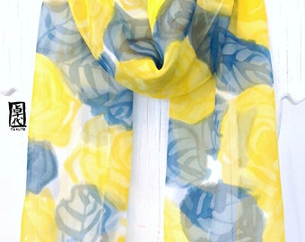 Silk Scarf Hand painted, Birthday Gift for her, Yellow Scarf, Silk Scarves Takuyo, Pretty in Yellow Roses Scarf, Made to order, 11x60 inch