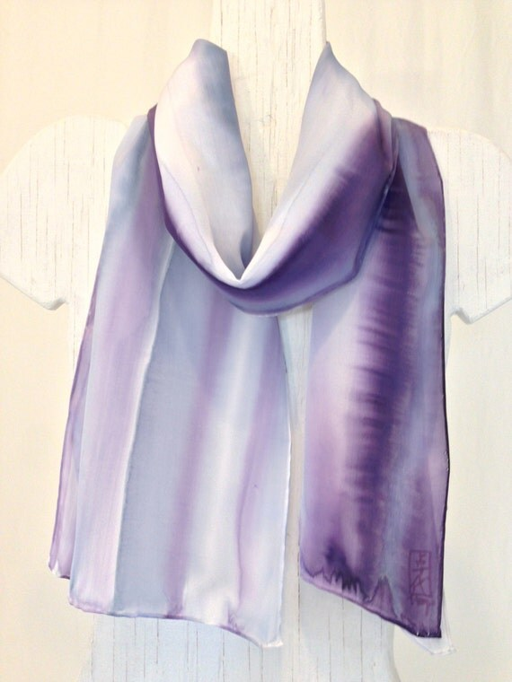 Hand Painted Silk Scarf, Japanese Purple and Gray Silk Scarf, Purple and Gray Zen Tranquility Scarf,  100% Silk. 11x60 inches.