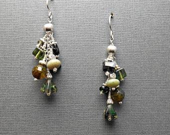 Cascade Waterfall Earrings with Green Tourmaline, Jade, Leopard Agate, Czech Glass and Sterling Silver