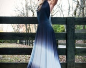 Over the Moon Ombre Satin Jersey Necklace Halter Gown