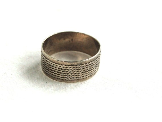 wide ring band mexican sterling silver cigar band size 5 75