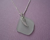 Seafoam Green Sea Glass and Silver Angel Wing Necklace