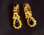 Vintage Rhinestone 1960s Clip Dangle Drop Yellow and Black-RESERVED THERESA