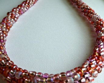"Pink beaded Kumihimo necklace ""Pink Parfait"""