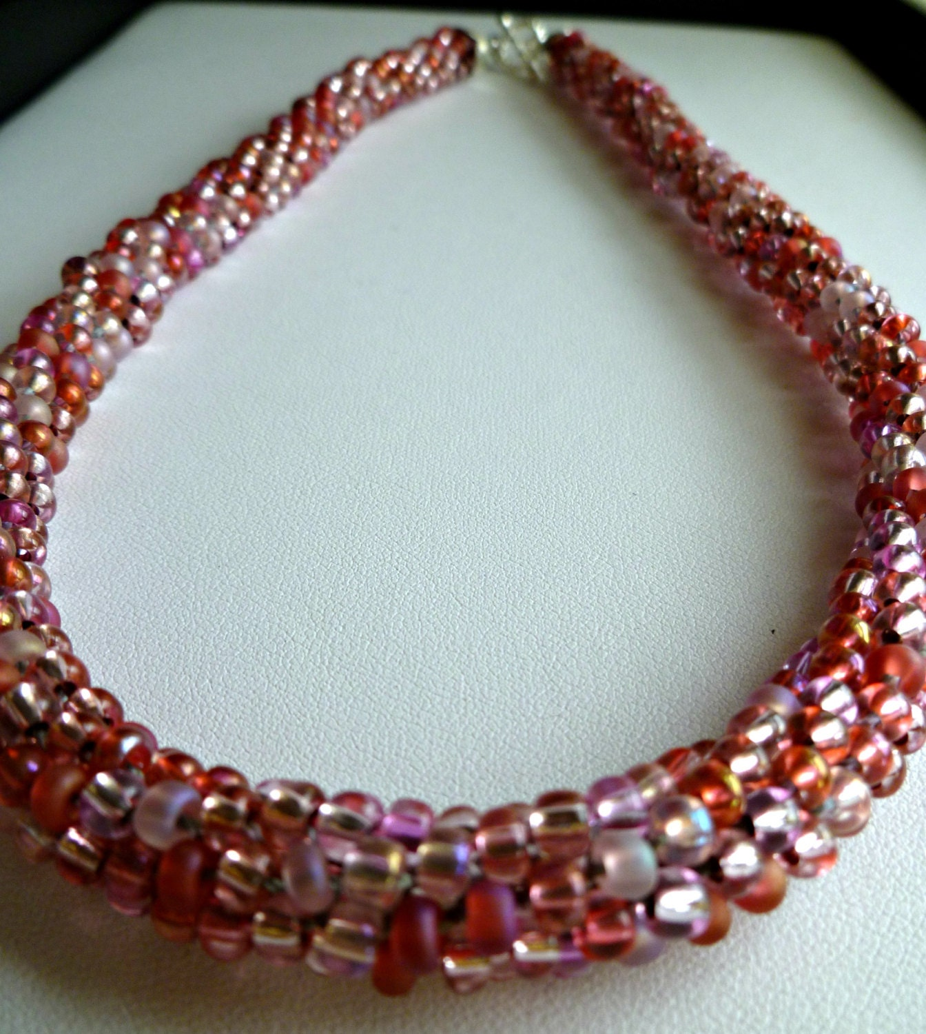 pink beaded kumihimo necklace pink parfait
