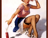"""Vintage Pin-Up Girl """"Patriotic"""" by Gil Elvgren 1950s ~ NEW 8x10 Art Print Reproduction"""