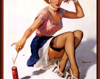 "Vintage Pin-Up Girl ""Patriotic"" by Gil Elvgren 1950s ~ NEW 8x10 Art Print Reproduction"