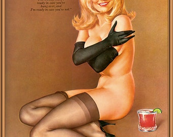 Alberto Vargas ~ Blond Female with Bloody Mary & Quote ~ 8x10 Art Print Reproduction