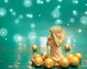 Christmas Angel Photo, Christmas carol, Musical Angel, Gold and Turquoise, Christmas photograph, Holiday home decor,