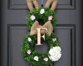 Easter Wreath.  Easter Bunny Wreath.  Boxwood Bunny Wreath with Woodfired Letter Collar.  ALL LETTERS.  Southern Elegance for Easter 2016.