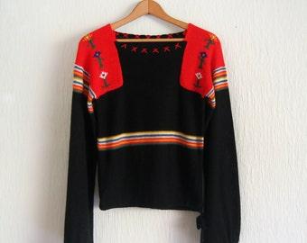Vintage 70's Sweater - Red / Black Boho / Scandi Folk Style