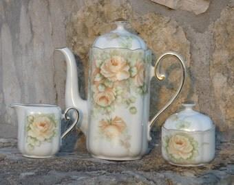 "Bavaria Porcelain Coffee Set Seltmann Weiden Hand Painted Yellow Roses ""Gloria"""