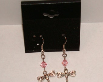 Silvertone Dragonfly w/ Crystal Earrings
