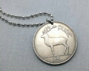 Coin Jewelry - IRELAND coin necklace - Irish Red Deer and harp - reindeer - coin keychain - deer jewelry - Irish man necklace or keychain